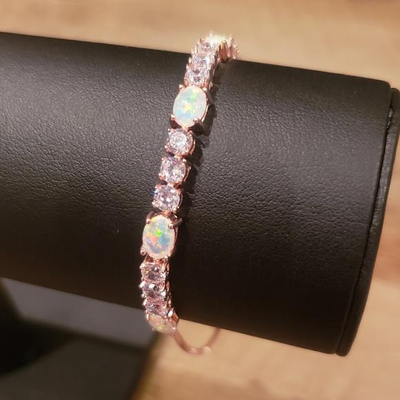 Fiery Opal tennis bracelet with Swarovski crystals